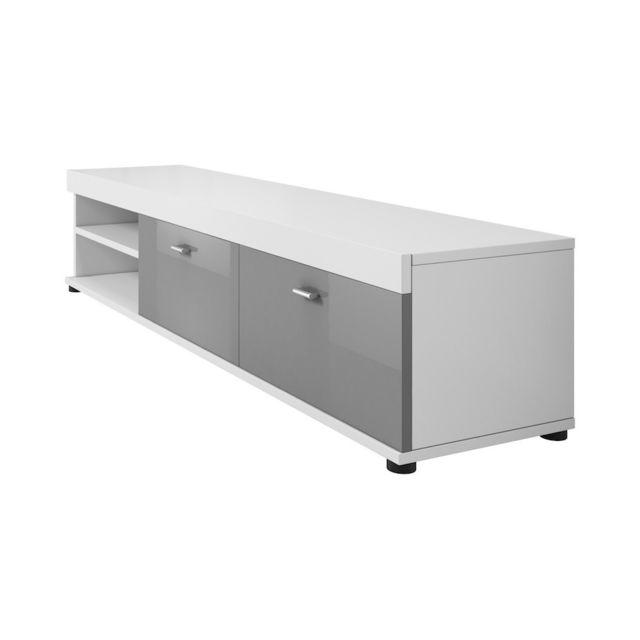 Mpc Meuble tv 140 cm en Mdf blanc mat et gris laqué