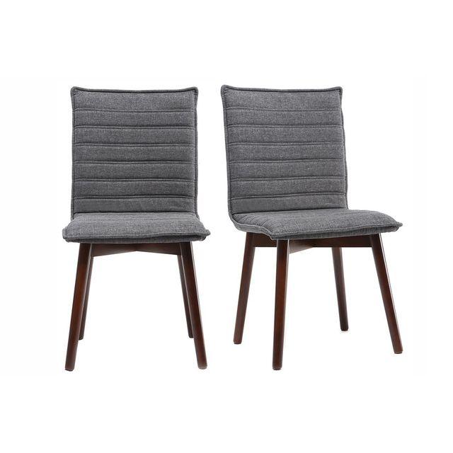 miliboo chaise design tissu gris anthracite pieds bois fonc lot de 2 izal gris fonc pas cher achat vente chaises rueducommerce - Chaise En Tissu Gris