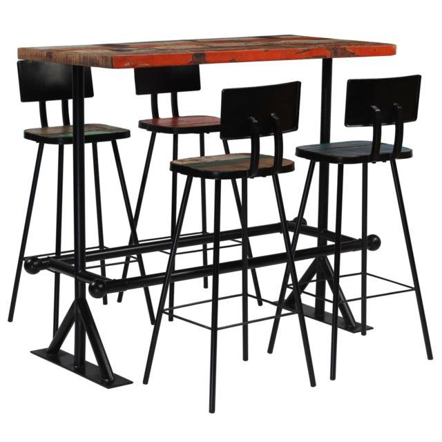 Vidaxl Mobilier de Bar 5 pcs Bois de Récupération Massif Multicolore Table