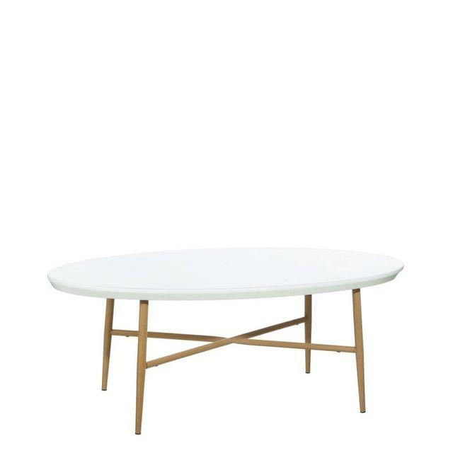 Ma Maison Mes Tendances Table basse ovale en Mdf et métal blanc, pieds aspect bois naturel Lotta - L 110 x l 60 x H 42