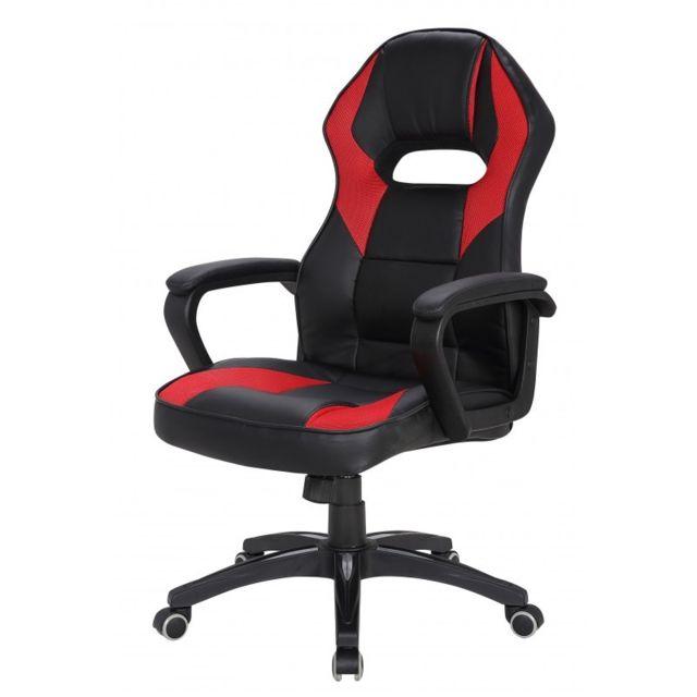 80c5d1ec937aa Chaise de Bureau Gaming Siège Noir Rouge Simili-Cuir à Roulettes