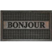 Bonareva - Cdaffaires Tapis d'entree rectangle 45 x 75 cm relief pvc bonjour Noir