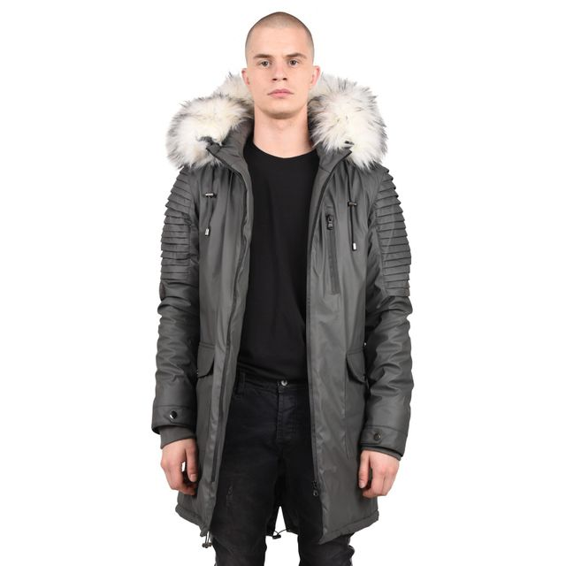 project x parka imperm able effet biker homme paris taille m couleur gris clair pas cher. Black Bedroom Furniture Sets. Home Design Ideas