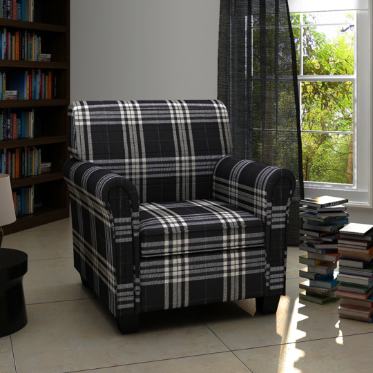 Rocambolesk Superbe Fauteuil en tissu Noir neuf