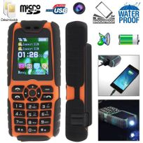 Yonis - Téléphone portable anti-choc tout terrain waterproof lampe Orange