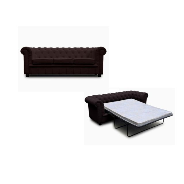 Meubler Design Chesterfield convertible 3 places marron