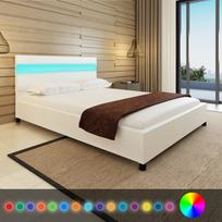 Rocambolesk - Superbe Lit 200 x 140 cm en cuir artificiel blanc avec tête de lit Led neuf