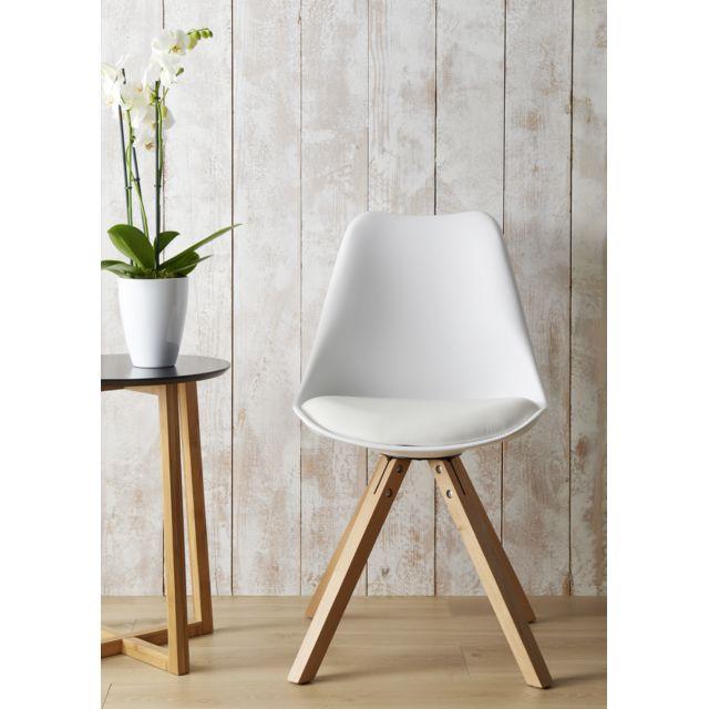 RUE DU COMMERCE MANHATTAN - Chaise blanche avec pieds en hêtre Assise confortable et design - Pieds en hêtre