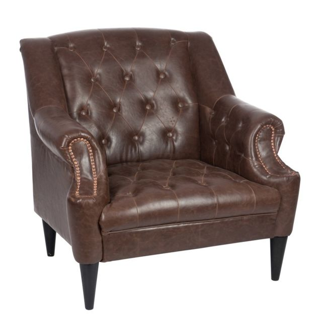 Tousmesmeubles Fauteuil Chesterfield Simili Cuir - Boston - L 80 x l 89 x H 96
