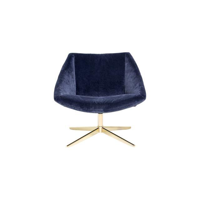 BLOOMINGVILLE Fauteuil en polyester bleu et pieds dorés Collection Elegant