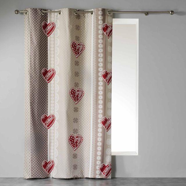 Couleur Montagne Cdaffaires Rideau a oeillets 140 x 240 cm coton imprime asmara Rouge