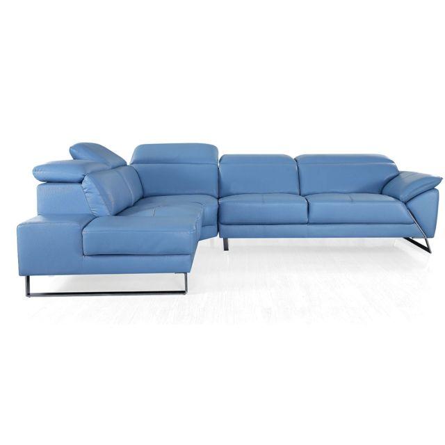 La Maison Du CanapÉ Canapé d'angle en cuir Raphael - Gauche - Bleu