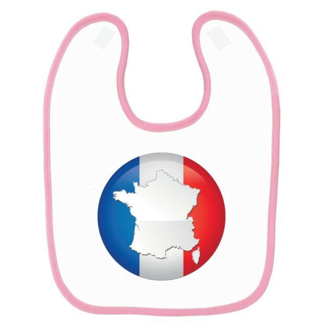 2ba9629609ce Mygoodprice - Bavoir bébé imprimé France drapeau rond Rose - pas ...