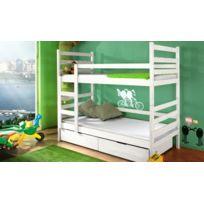 House and Garden - Lit Superpose Pour 2 Enfants En Bois Massif - Julo Blanc Sans matelas