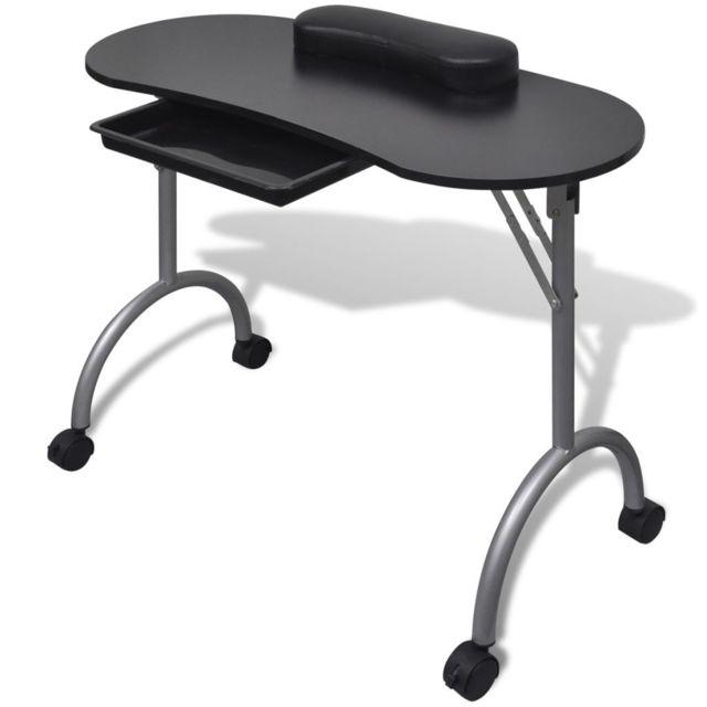 Vidaxl Table de manucure pliante noire avec roulettes | Noir