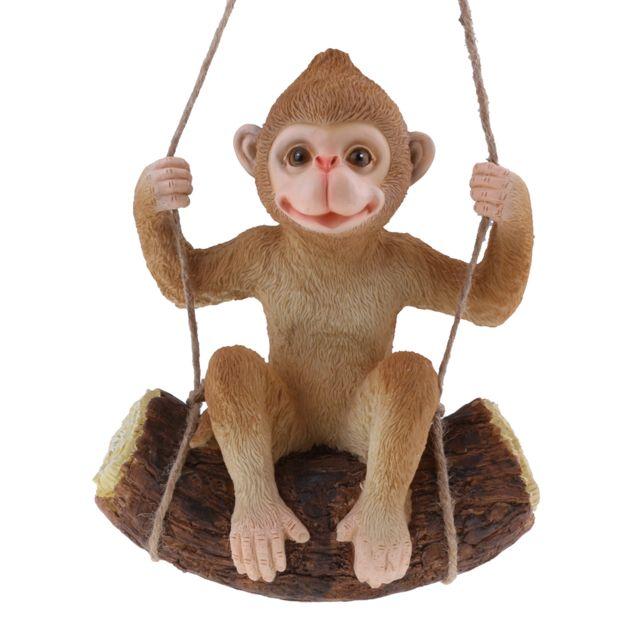 Simulation de résine swing animaux figurine jardin ornement décor marron singe
