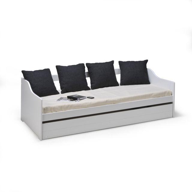cede263458716f Alinéa - Cosy Chambre Lit banquette gigogne blanc avec tiroir (90x190cm)