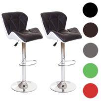 Mendler - 2x tabouret de bar Hamilton, chaise de comptoir, bois, similicuir, rotatif ~ marron