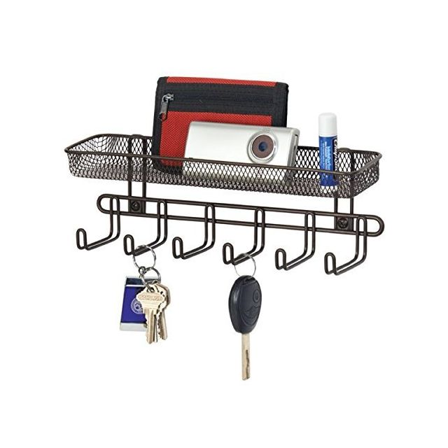 Boîte à clés avec casier du courrier en Bronze - idéal pour accrocher des clés, des laisses de Chien ou des Sacs à Main