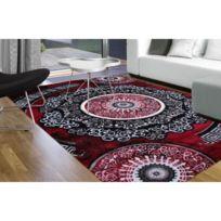 Tapis De Salon Moderne Spirale New Florida Gris Et Rouge 80 X 150 Cm