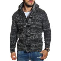 Carisma - Gilet homme à capuche noir en laine
