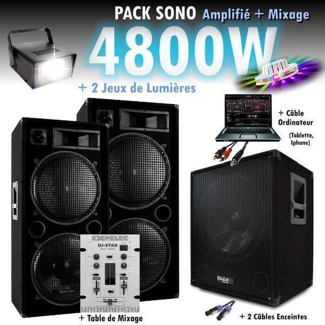 Ibiza Sound Pack sono mixage dj 4800w avec 1 caisson - 2 encentes - cables - jeux de lumières led pa dj led light sound