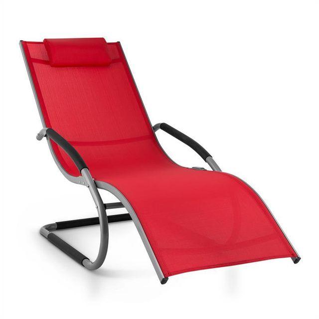 BLUMFELDT Sunwave Chaise longue transat Relax Aluminium rouge
