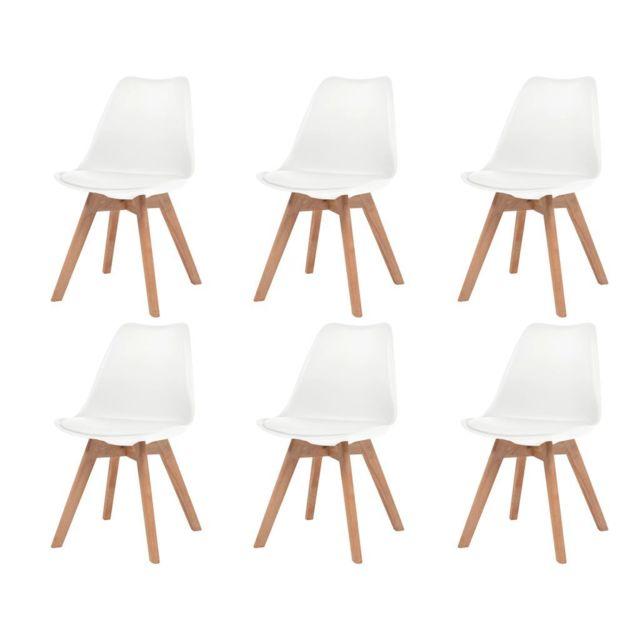 Icaverne Chaises de cuisine et de salle à manger categorie Chaise de salle à manger 6 pcs Similicuir Bois massif Blanc
