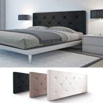 IDMARKET - Tête de lit capitonnée PVC noir 160x60cm imprimé 14 boutons