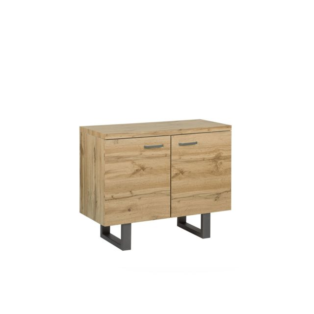 BELIANI Commode 2 portes en bois clair TIMBER - marron clair