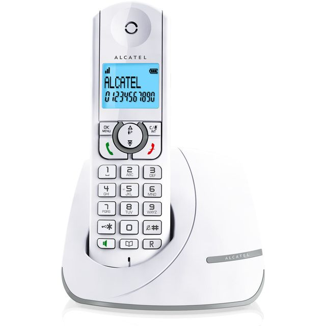 ALCATEL téléphone sans fil dect blanc/gris - f390gris alcatel - téléphone sans fil dect blanc/gris - f390gris Téléphone sans fil Alcatel VERSATIS F390GRIS raffiné et efficace !Une excellente qualité audio pour profiter pleinement de vos conversations. La