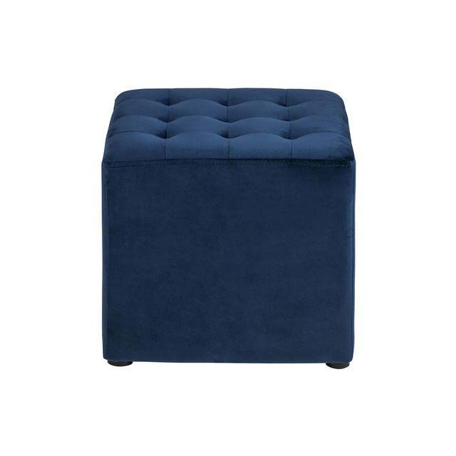 Axe Design - Pouf carré en velours capitonné Bryan - Bleu