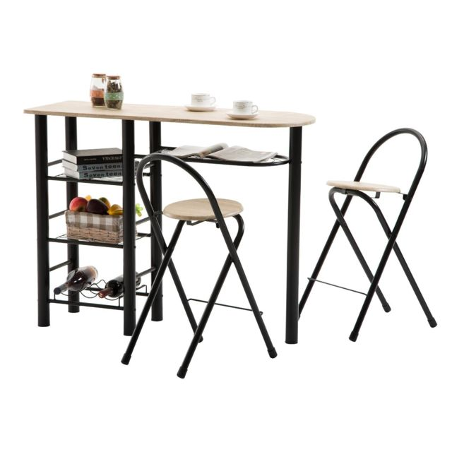 Ensemble Style Avec Table Haute De Bar Mange Debout Comptoir Et 2 Chaises Tabourets En Mdf Chêne Sonoma Et Structure En Métal Noir