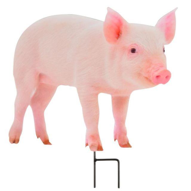 ESSCHERT DESIGN Animal de la ferme décoratif sur pic Cochon