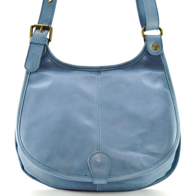 e9f563d82a60d Oh My Bag - Sac à main besace cuir lisse style cartouchière Bleu ...