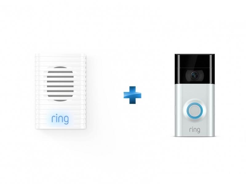 Doorbell V2 - Noir/Blanc + Carillon Chime - Blanc