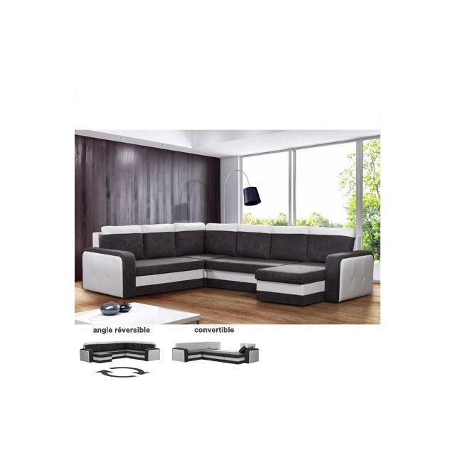 Canapé d'angle panoramique convertible et reversible noir et blanc Univers