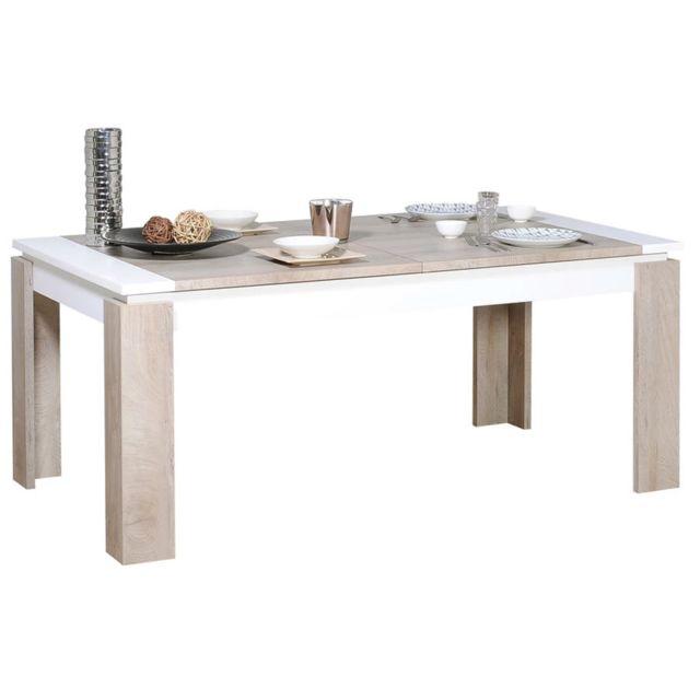 Kasalinea Table à manger extensible couleur chêne et blanc moderne Emilie