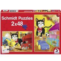 Schmidt - Puzzle 2 x 48 pièces - Chats : Cache cache