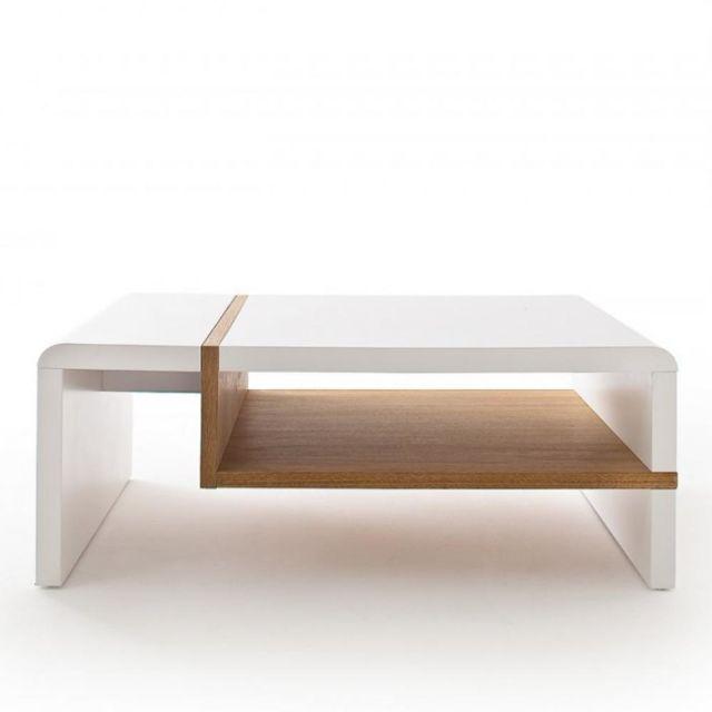 Inside 75 Table basse Rodrig blanc laqué mat et tablette placage chêne 100 x 70 cm