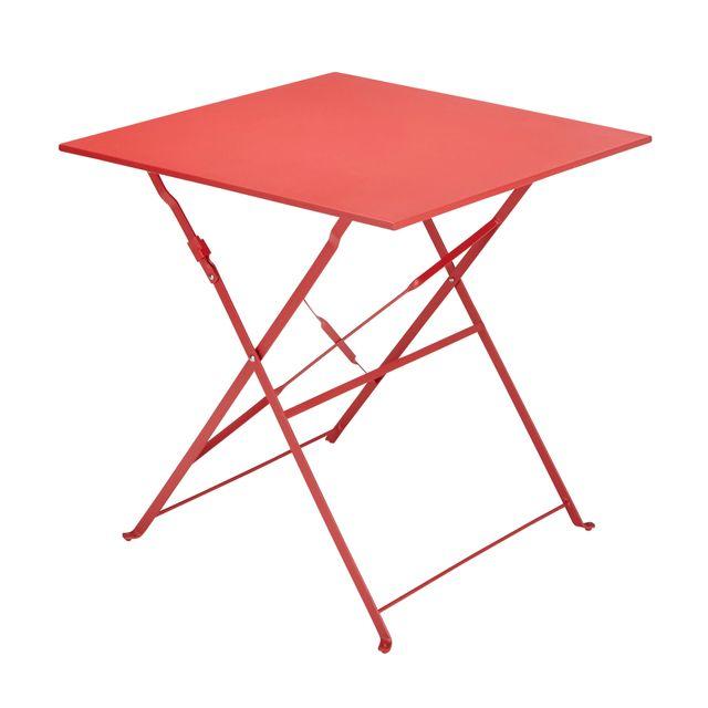 Table Bistrot carrée pliante - Corail