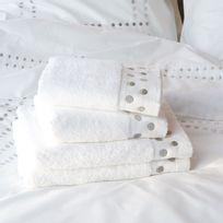 Essix - Drap de bain 100% coton 550gr/m2 brodé pois blanc 70x140cm Venezia - ArgentNC