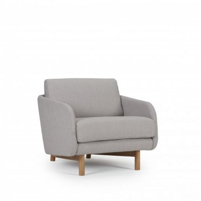 Inside 75 Fauteuil Trend tissu gris clair piétement chêne clair