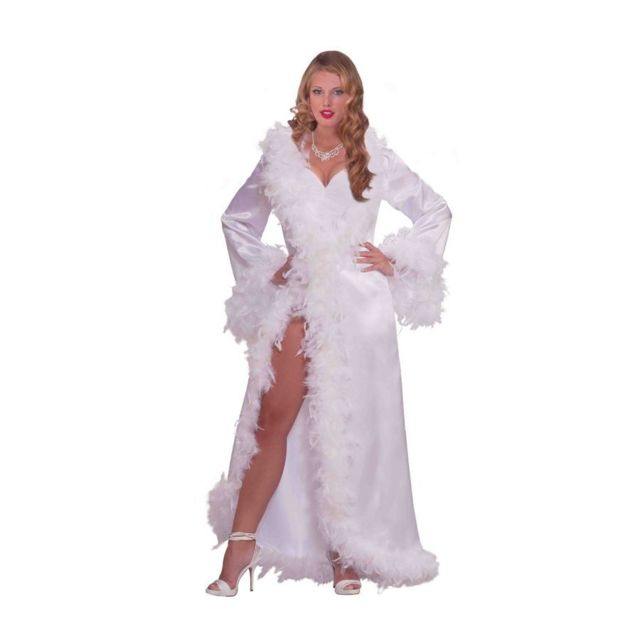 39e61470ab00 Marque Generique - Robe hollywoodienne blanche marabout et satin ...
