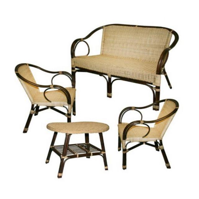 Set salon en rotin canapé + 2 fauteuils + table basse déco Montmartre