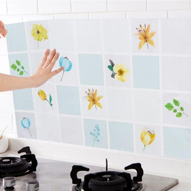 ... Wewoo   Gadgets De Cuisine Bleu 5 Pcs Anti Huile Preuve Stickers Muraux  Décoratifs Feuille ...