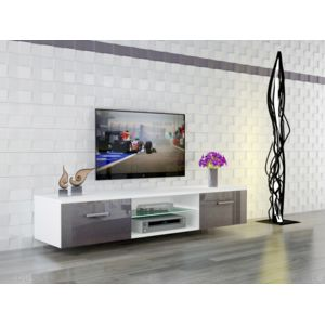 dusine meuble led suspendu tv giuliano blanc mat et portes gris laqu 160 cm pas cher achat. Black Bedroom Furniture Sets. Home Design Ideas