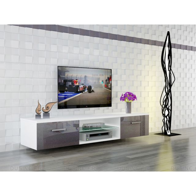 beautiful dusine meuble led suspendu tv giuliano blanc mat et portes gris laqu cm with meuble tv. Black Bedroom Furniture Sets. Home Design Ideas