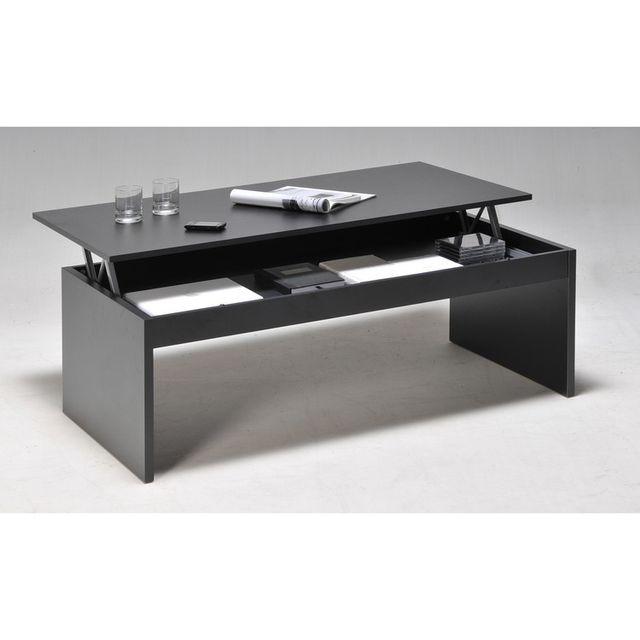 weber table basse relevable rectangulaire en bois noir. Black Bedroom Furniture Sets. Home Design Ideas