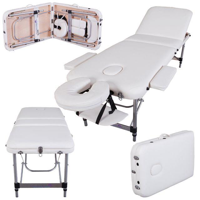 Richmond Table De Massage Léger De Luxe En Aluminum Blanc Ivoiré